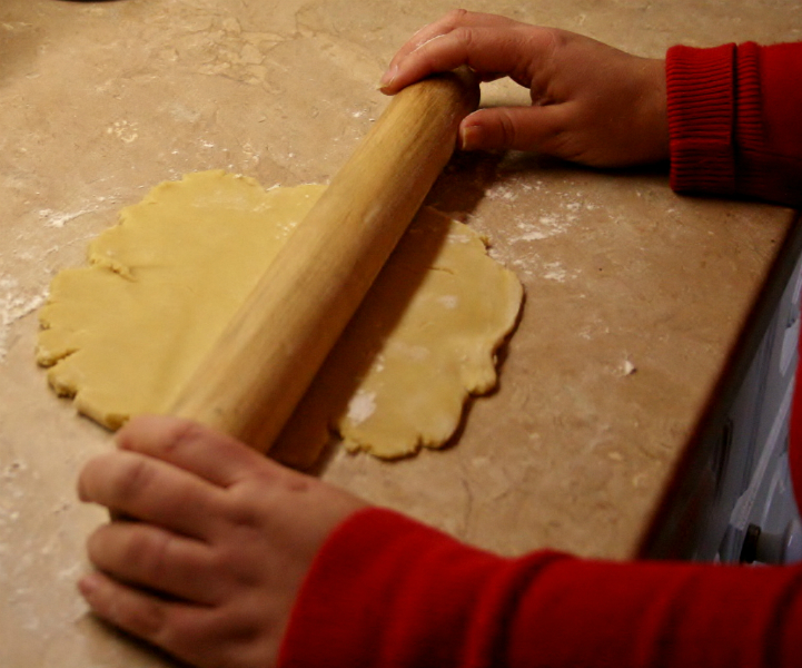 Rolling pin in use
