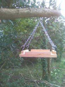 hanging bird table made from western red cedar